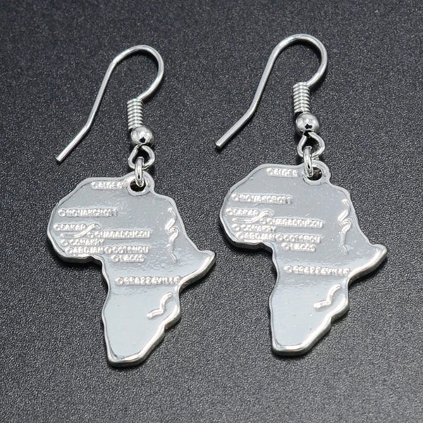 Africa shaped earrings - silver plated