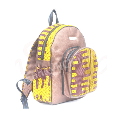 Leather and African print backpack - Golden brown small