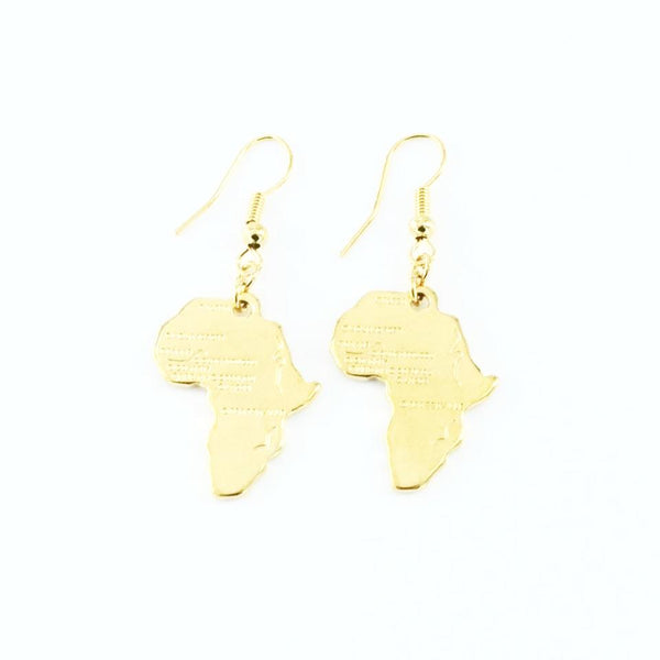 Gold plated Africa shaped earrings