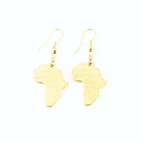 Gold plated - Africa shaped earrings
