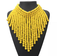 Yellow bead statement necklace