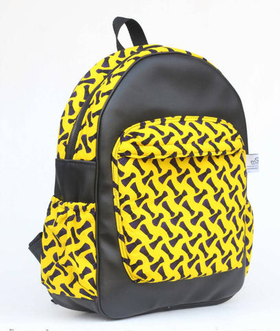 Handmade Leather and Yellow African print backpack