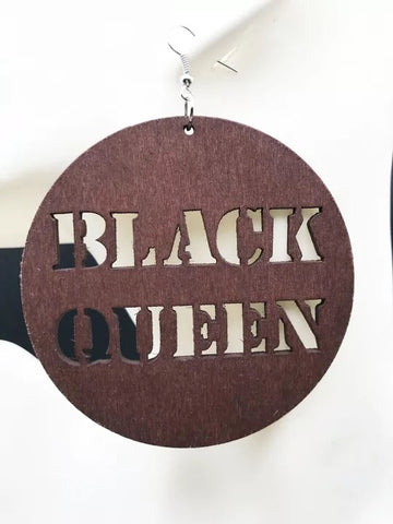 Black Queen - Large 8cm wooden earrings