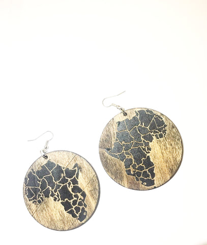 African Map Wooden Earrings - Circle