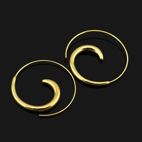 Thick spiral gold earrings