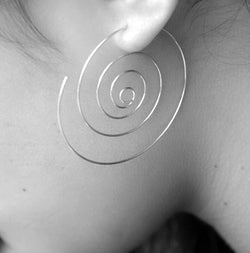 Thin spiral silver earrings