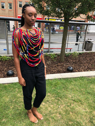 Layered african fabric statement necklace - Ankara Conversation Piece