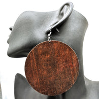 Large round wooden earrings - Brown