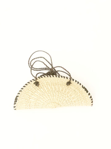Fan rattan straw handmade bag