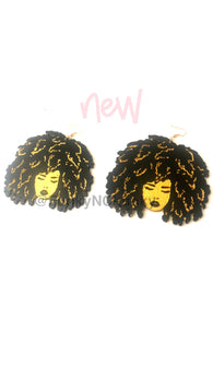 Afro hair -wooden statement earrings