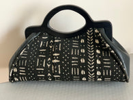 Black & white Mud cloth and leather Handbag