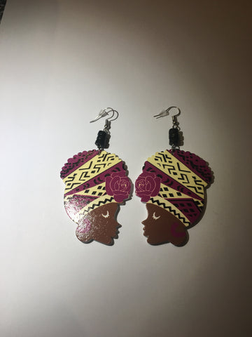 Purple and Cream Head Wrap Earrings