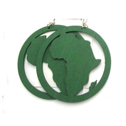 Large Wooden Africa earrings - Green