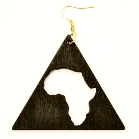 Wooden Triangle Africa Earrings- Black