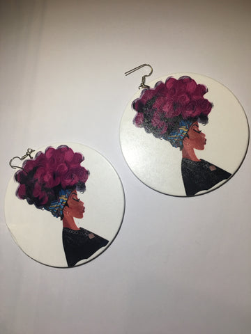 Purple Afro Earrings