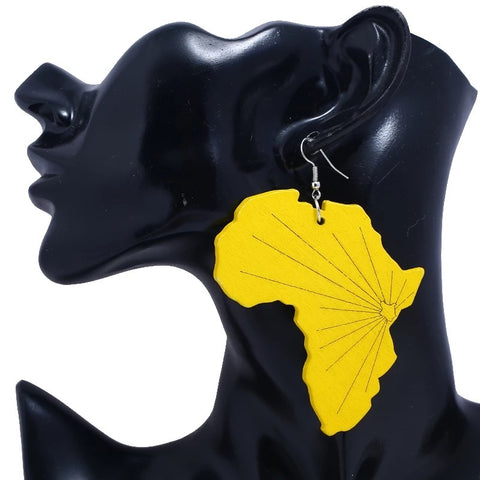Large Yellow Africa Map - Earrings