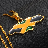 Jamaica Map and National Flag Pendant Necklace