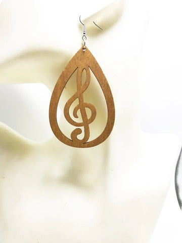 Wooden music symbol earrings (Treble Clef)
