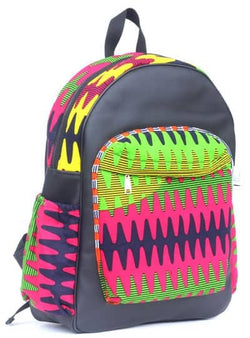 Leather and African print backpack - dark blue
