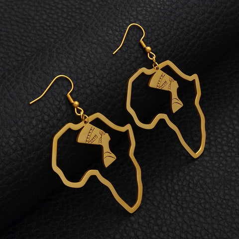 Stainless Queen Nefertiti Earrings African Map Earrings