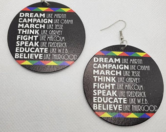 Dream Like Martin  - wooden earrings