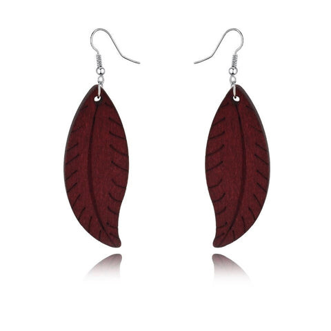 Wooden leaf shaped earrings