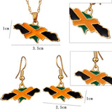 Jamaica National Flag Earring and Pendant Necklace