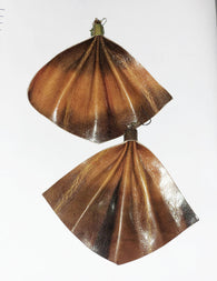 Handmade leather fan shaped statement earrings - batik tan