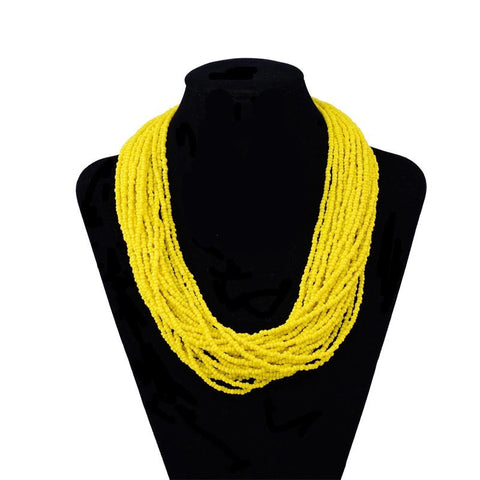 Yellow bead layered necklace
