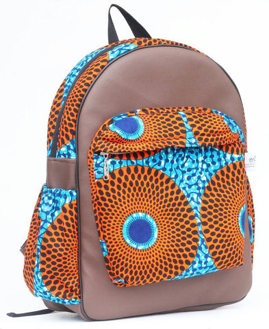 Handmade Leather and Brown African print backpack