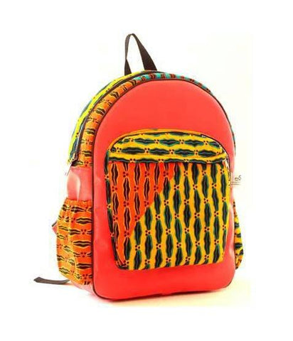 Handmade Orange Leather and African print backpack
