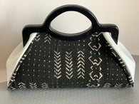 White leather and black Mud cloth Handbag