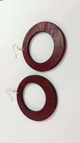 Medium african red wood earrings