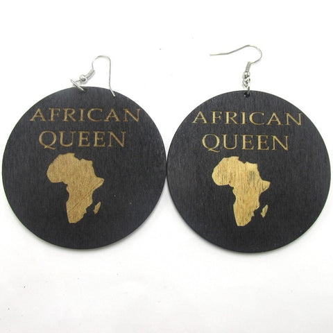 African Queen wooden earrings