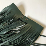 Dark Green Leather Collar Tassel Necklace