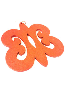 Adinkra red wooden earrings