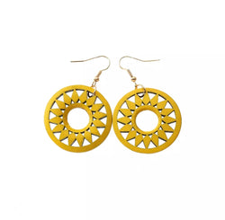 Yellow wooden earrings