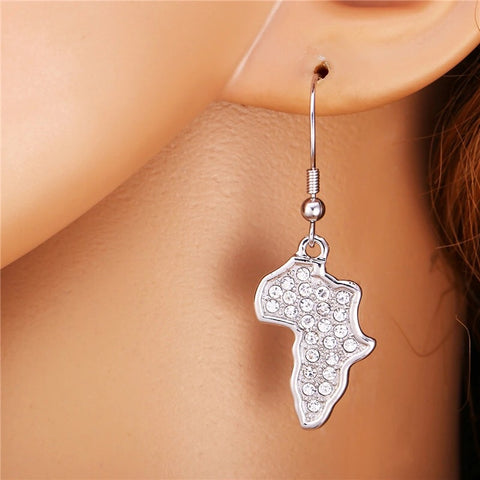 Silver rhinestone - Africa Map Earrings