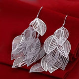 Leaf shaped silver earrings