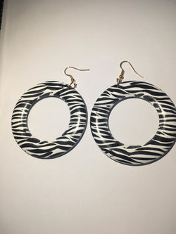 Zebra Print Circle Earrings