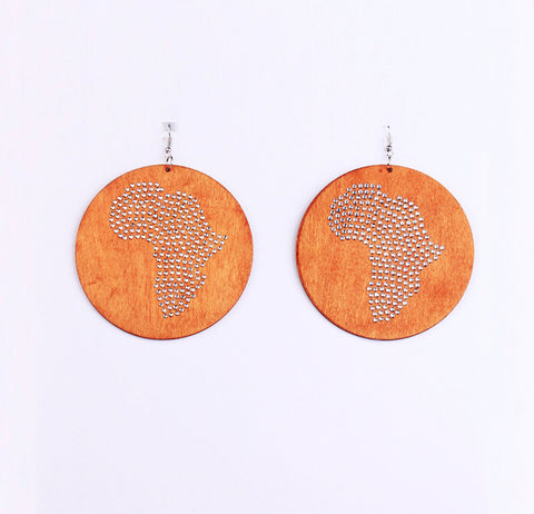 African Map Rhinestone Wooden Earrings - Circle