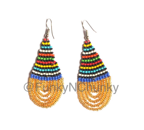 Handmade bead Kenyan colourful statement earrings