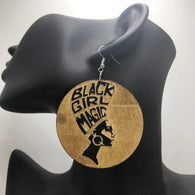 Black Girl Magic Wooden Earrings