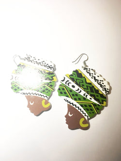 Green and White Head Wrap Earrings