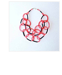 Mesh geometric red statement necklace