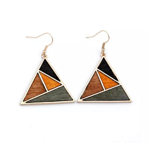 Natural Wood Dangel Earrings For Women Fashion Bohemian Gold Geometric Splicing Hollow Drop Earring