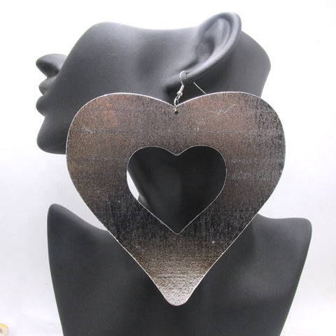 Large wooden heart shaped earrings