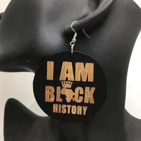 I am Black History - Wooden Earrings