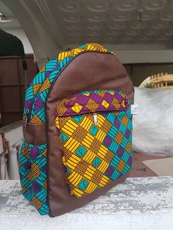 Handmade Leather and African print backpack - Brown