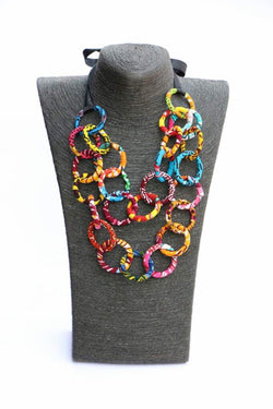 African fabric  - Multi layered circular statement necklace
